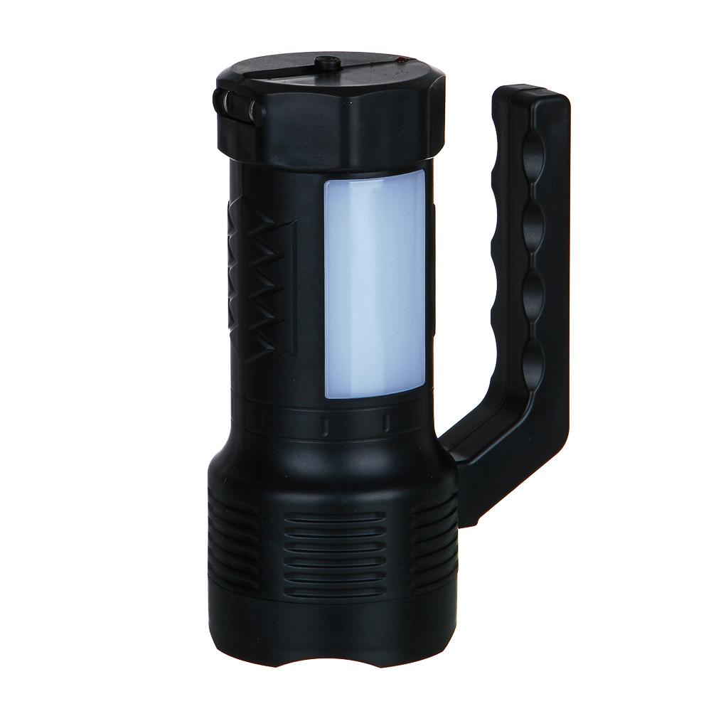 ЧИНГИСХАН Фонарь, 1 LED+12 LED, 1Вт+3Вт, аккумулятор 800мАч, 14х10см, 2 режима, пластик