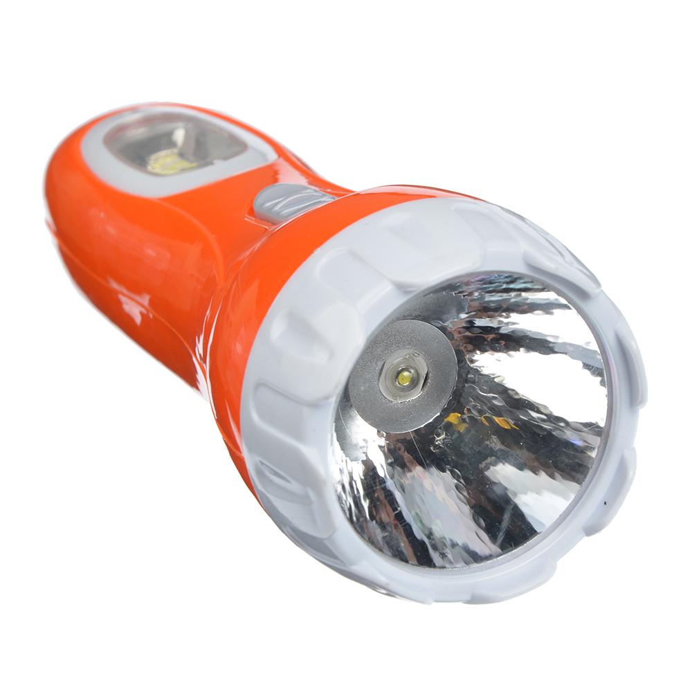 ЧИНГИСХАН Фонарь, 1 LED + 5 LED в ручке, 1Вт, аккумулятор 300мАч+ солн.батарея, 16см, пластик, 2 реж