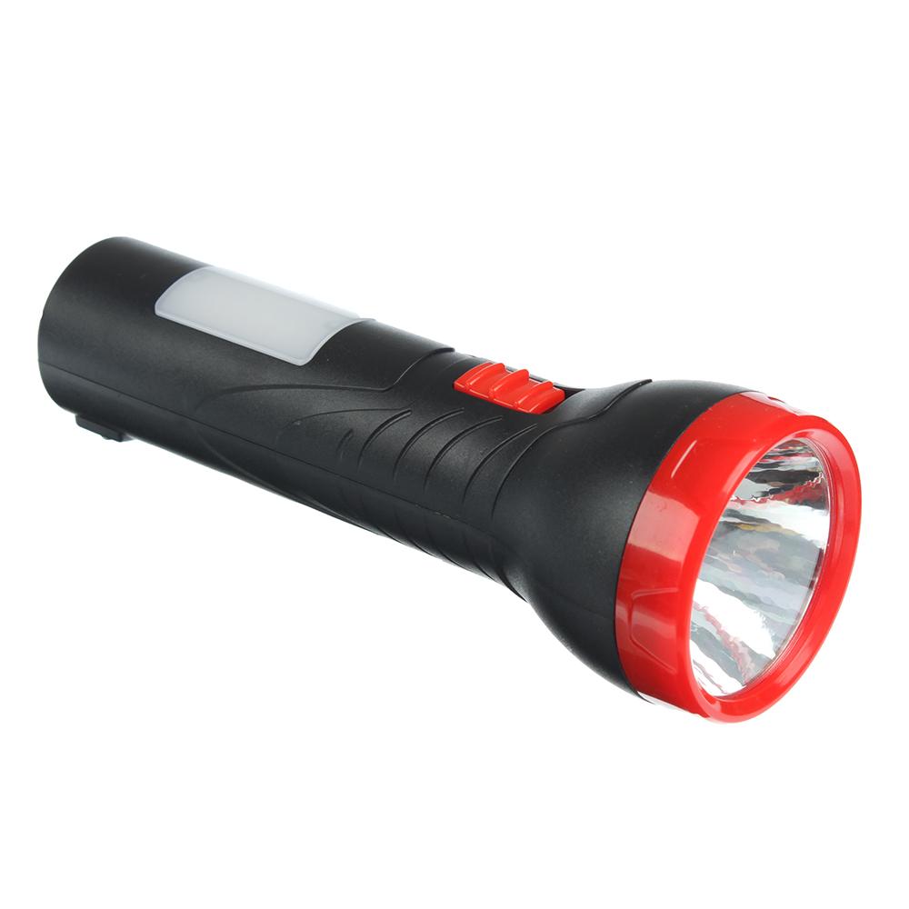 ЧИНГИСХАН Фонарь, 2 режима: 1 LED, 6 LED, 1Вт+3Вт, аккумулятор 400мАч, 16.5см, пластик