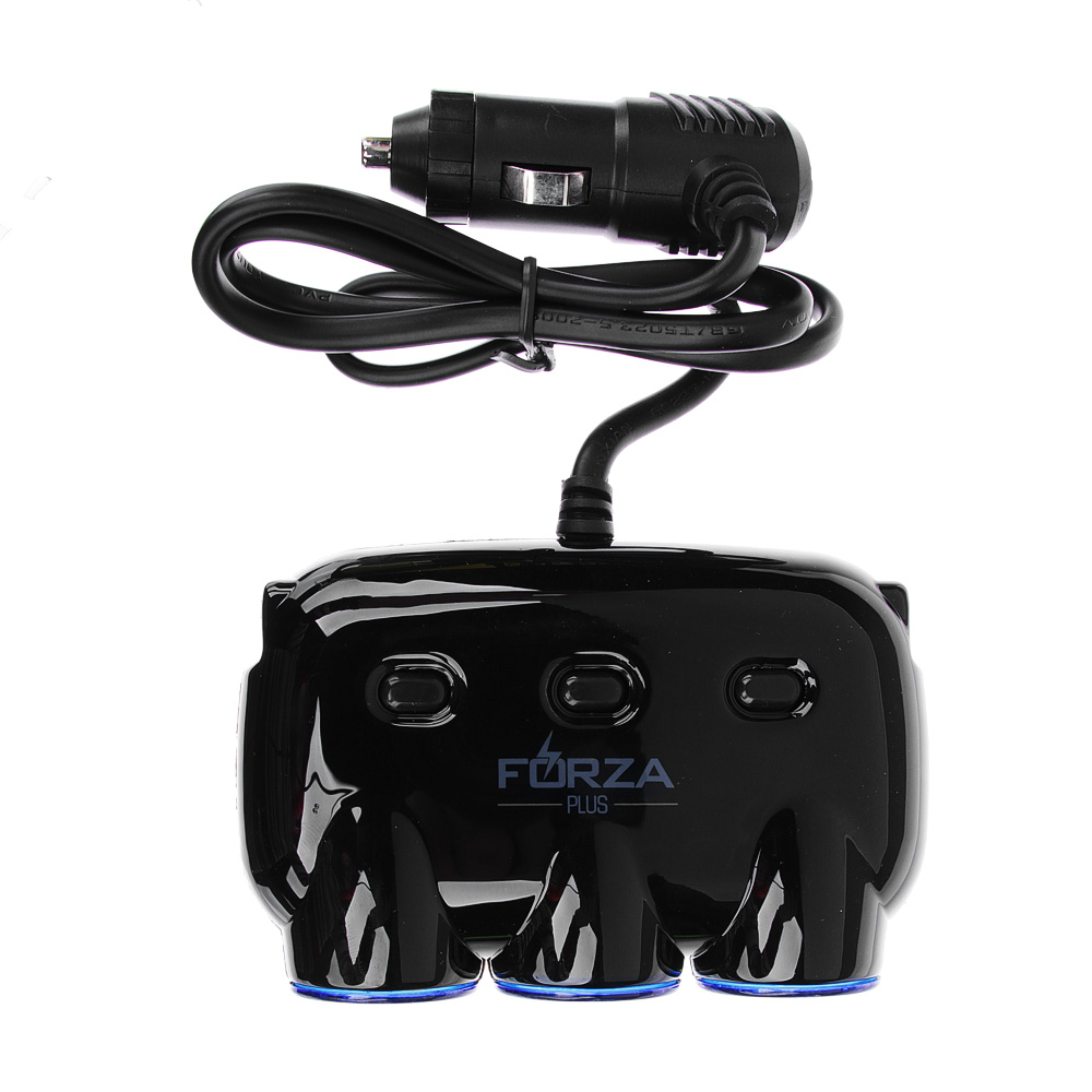 FORZA Разветвитель 3 гнезда прикуривателя + 2 USB, DC 12V-24V, USB: DC5V, 2.1A/1A