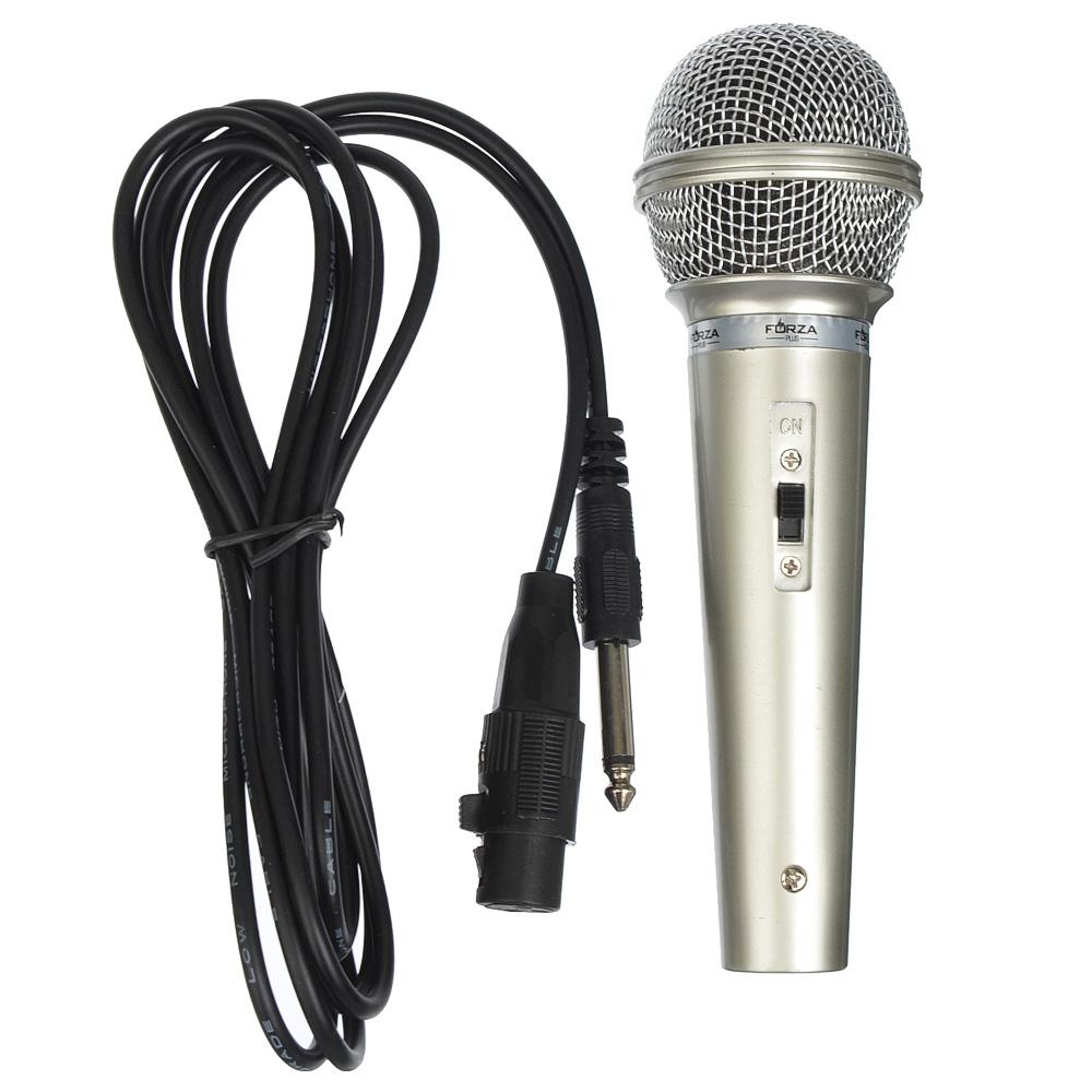 FORZA Микрофон, 17 см, провод 2,5м, серебристый