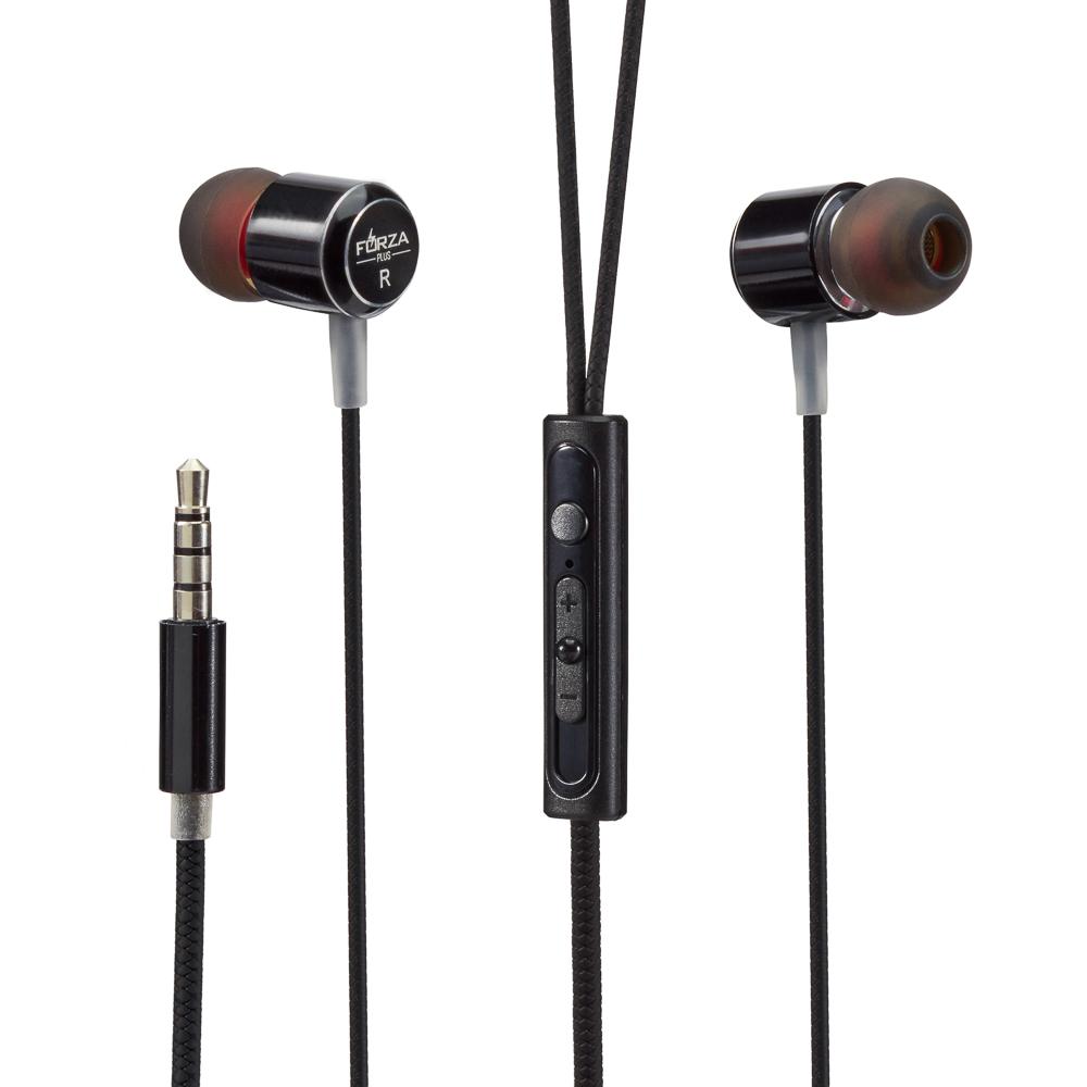 Наушники вакуумные FORZA с гарнитурой, 2 пары насадок, 120 см, металл, пластик, 3 цвета
