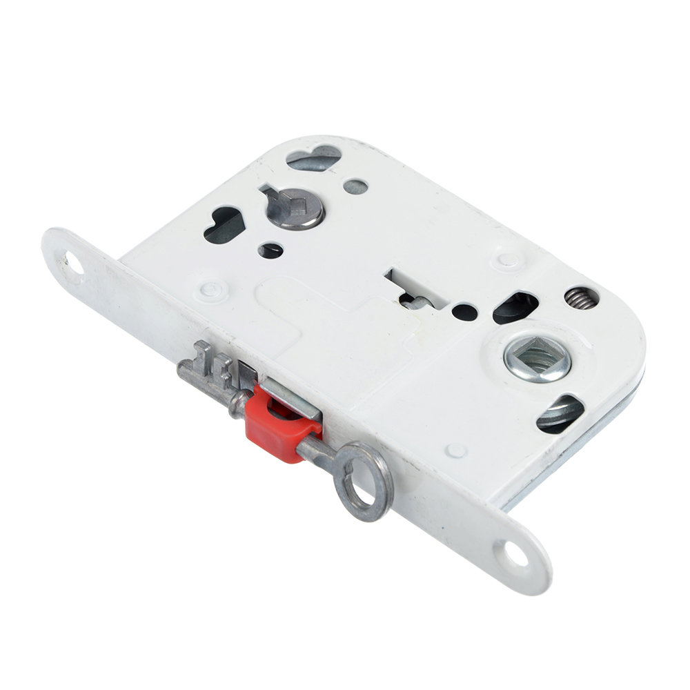 Корпус врезного замка под WC фиксатор/ключ, 45мм, м/о 72мм, WW/белый