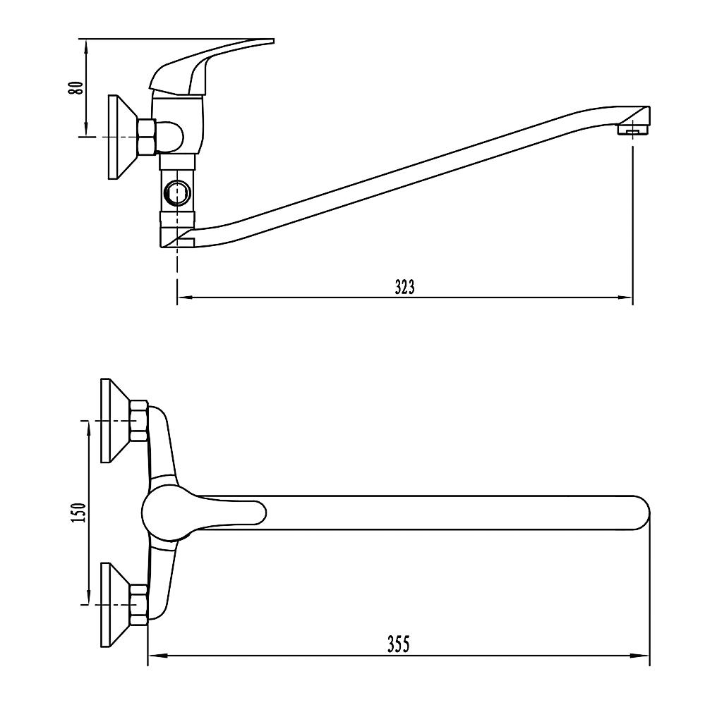 Смеситель для ванны с душем СоюзКран, однорычажный, плоский излив 35см, хром, SK1012.1