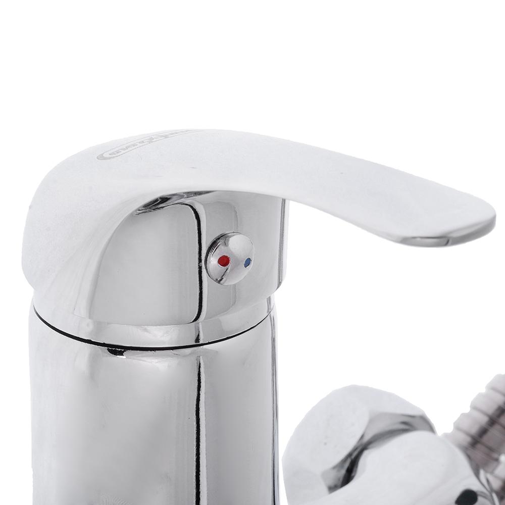 Смеситель для ванны с длинным изливом, керамический дивертор, с душ комплектом, картридж 35мм, цинк,