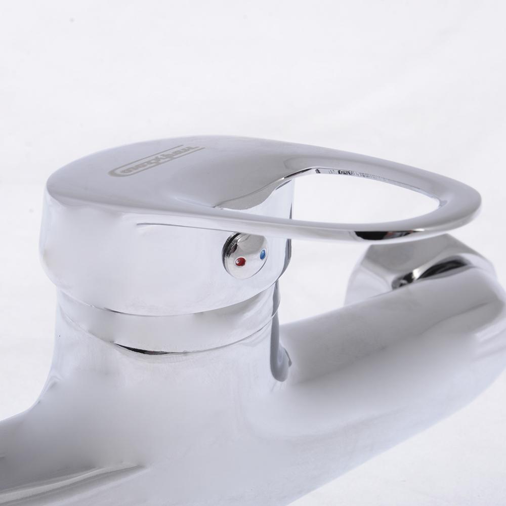 Смеситель для ванны с длинным изливом, керамический дивертор, с душ комплектом, картридж 35 мм, цинк