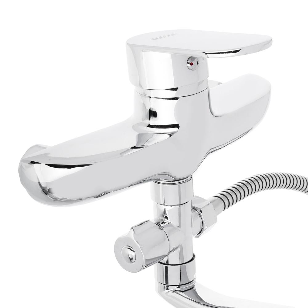 Смеситель для ванны с длинным изливом, керамический дивертор, с душ комплектом, картридж 40 мм, цинк