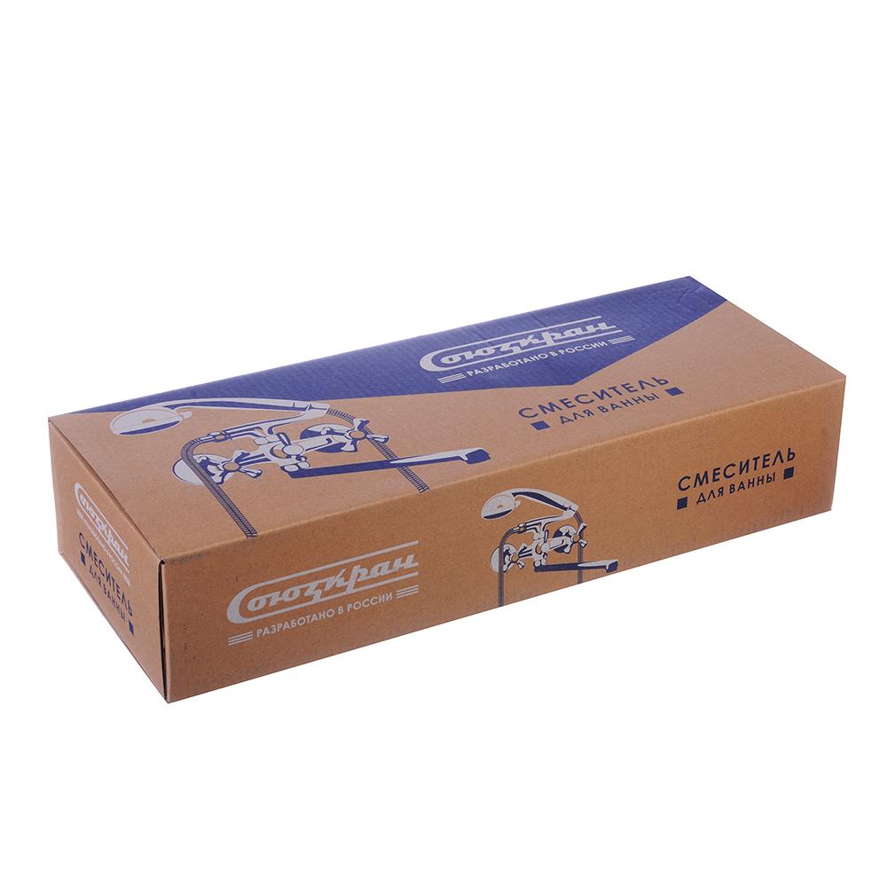 Смеситель для ванны с длинным изливом 40 см, с душевым комплектом, керамические кран-буксы 3/8, цинк