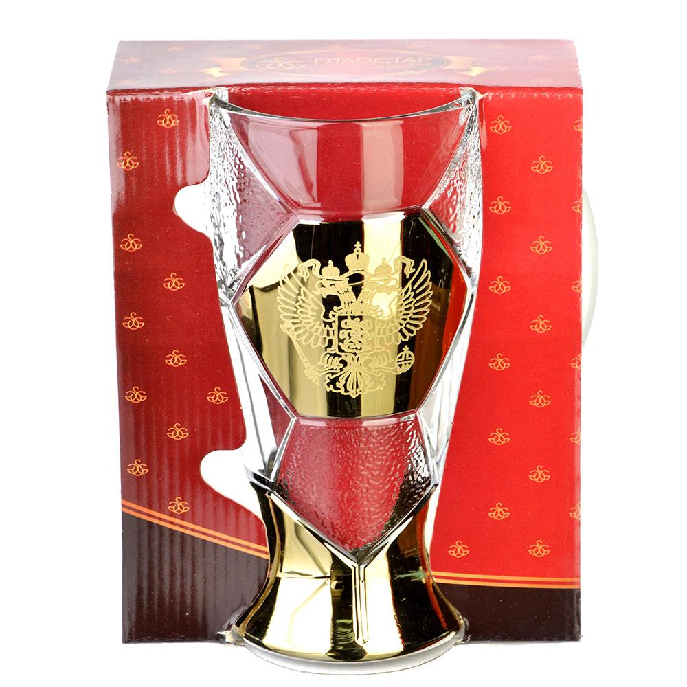 Кружка пивная стеклянная с декором К1404 Лига 500мл ГН Герб