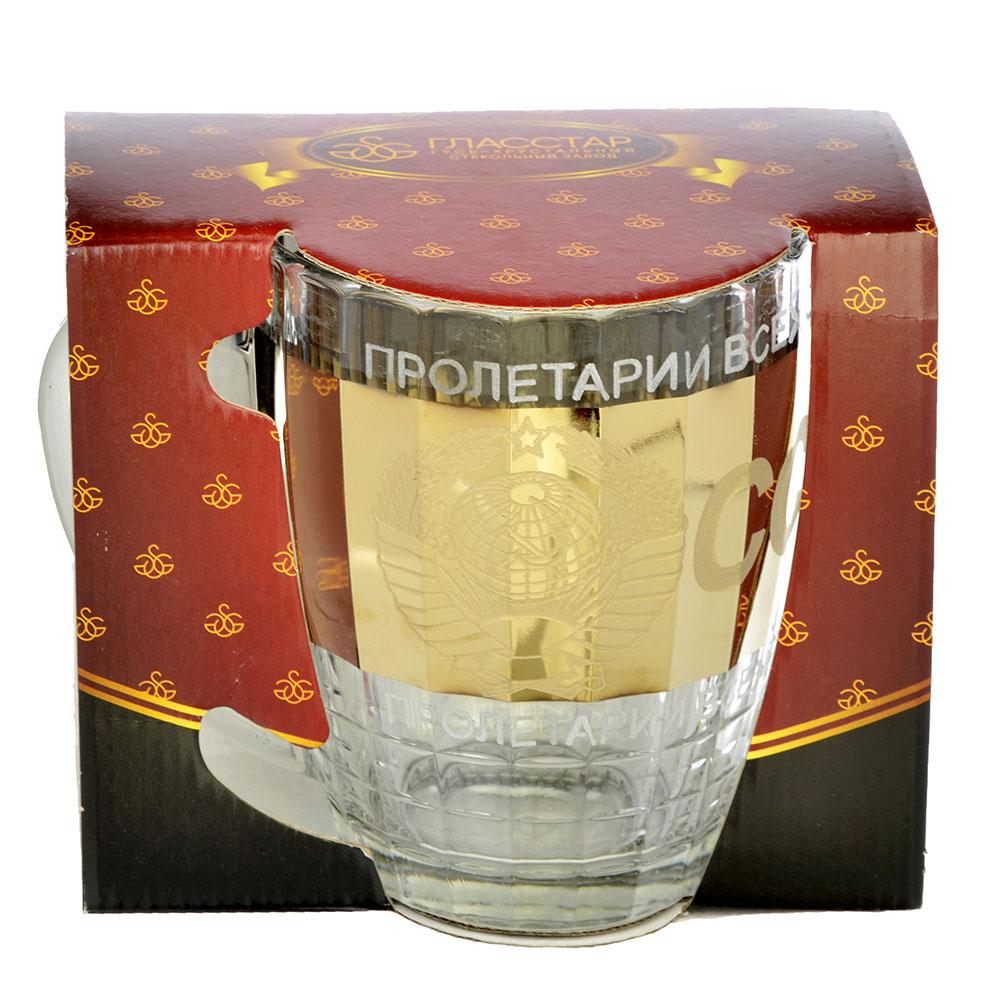 Кружка пивная стеклянная с декором К1361 Ностальгия 500мл ГН СССР