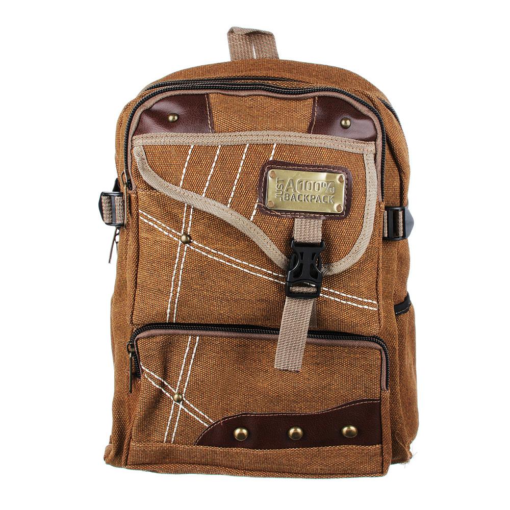 Рюкзак подростковый 41x31x15см, мягкий, 1отд. на молнии, 4 кармана, холст, металл, 2 цвета