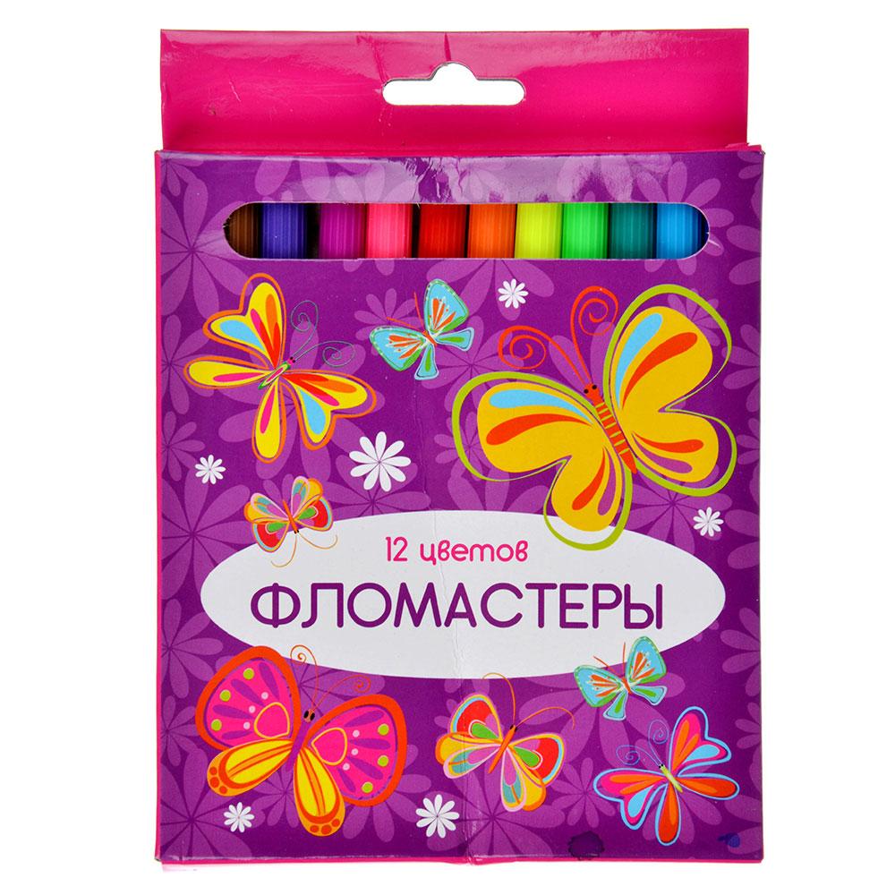 КРЫЛАТЫЕ ЦВЕТЫ Фломастеры 12 цветов, 12,6х7мм, с цвет. вентилир. колпачком, пластик,в к/к с подвесом