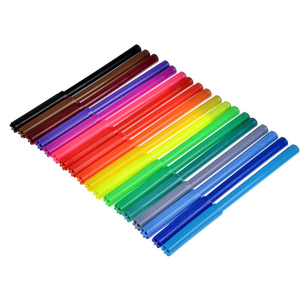 Джинс Фломастеры 18 цветов, с цвет. вентилир. колпачком, пластик, в карт.коробке с подвесом