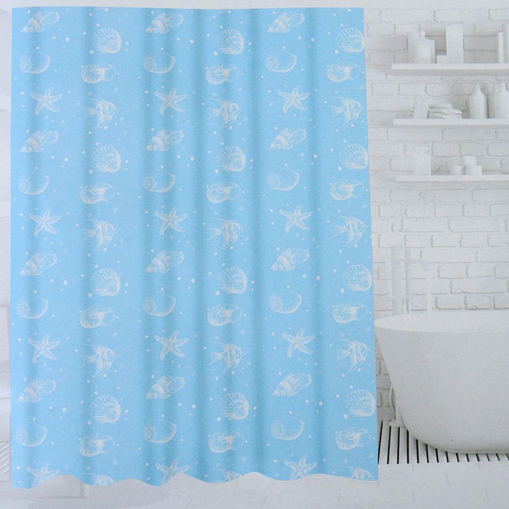SonWelle Шторка для ванной, ПЕВА, 180х180см, 3 дизайна, МОРСКОЙ БЕРЕГ