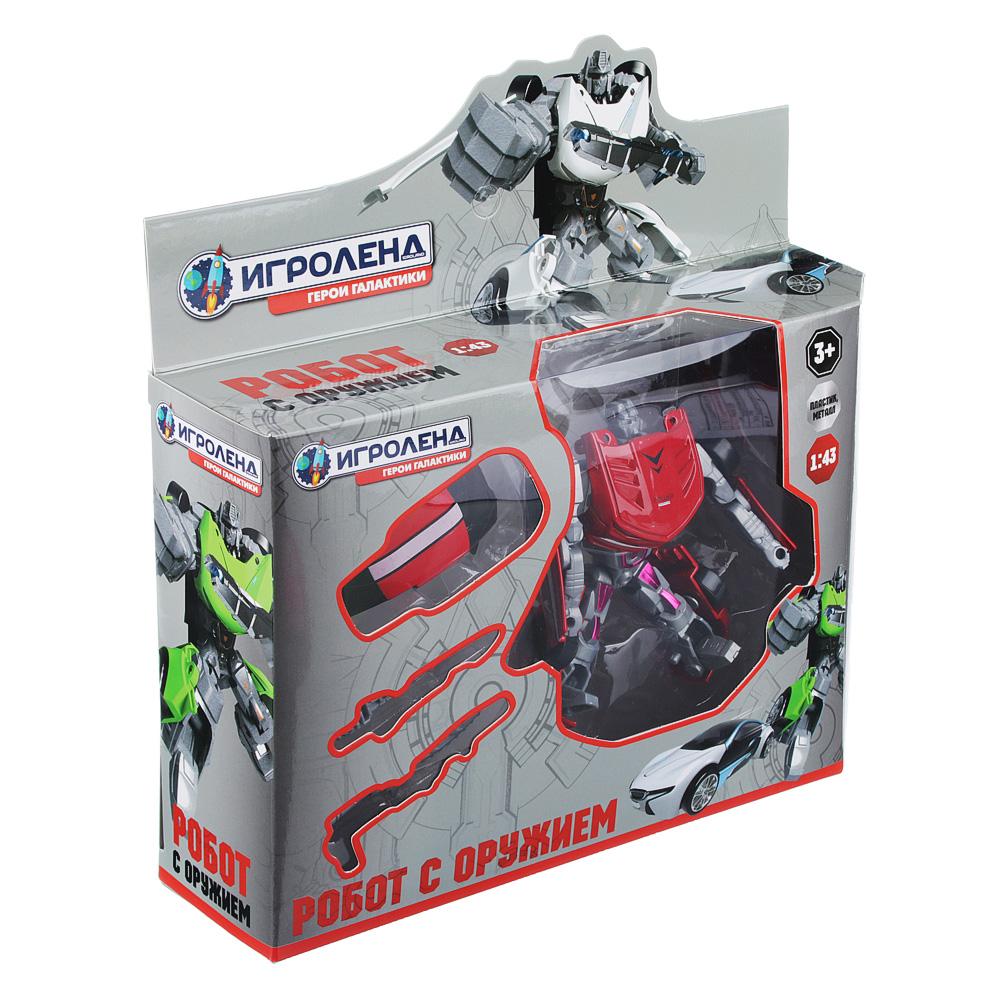 ИГРОЛЕНД Игрушка в виде Робота трансформирующегося, пластик, 12х16х3,5см, 4 дизайна