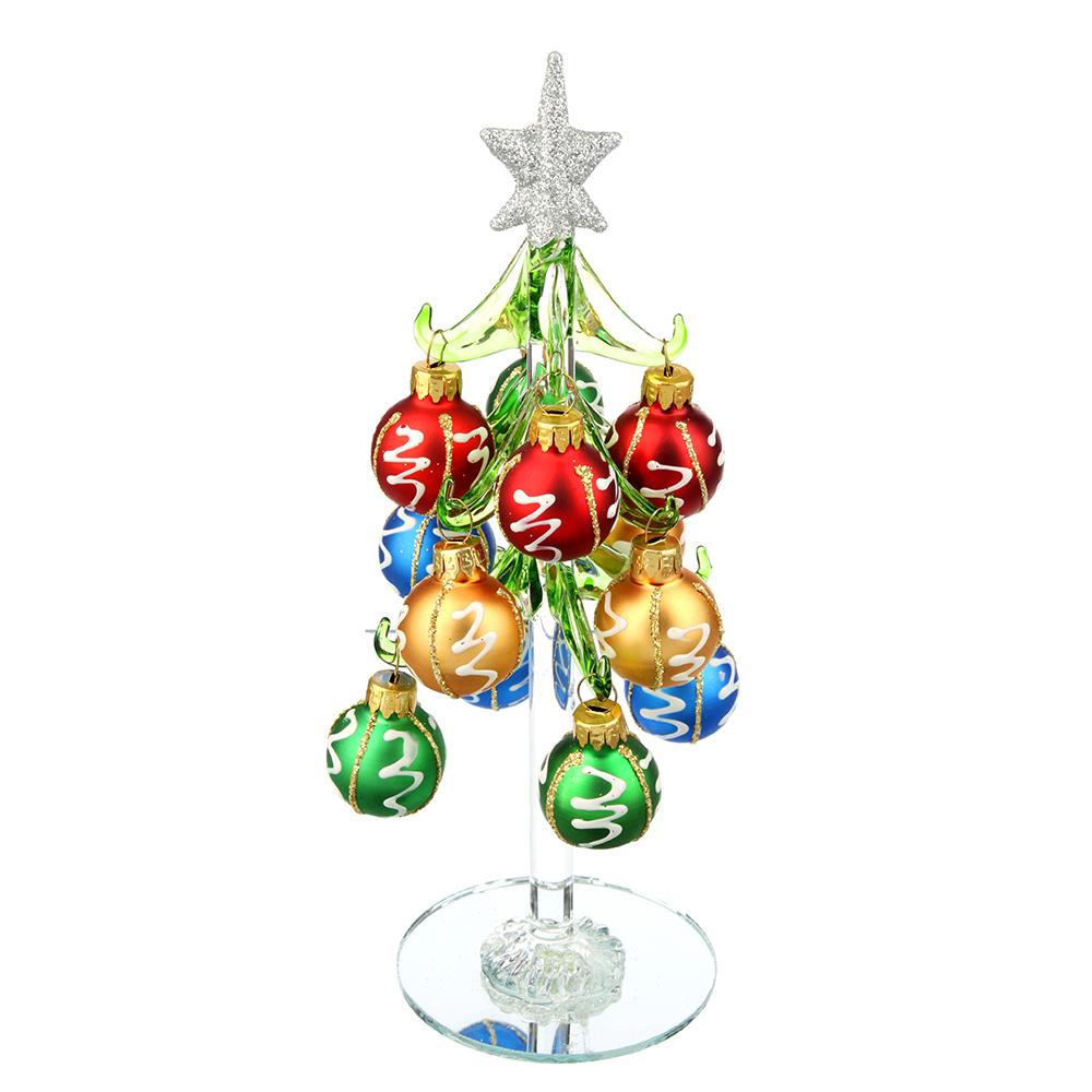 Елка сувенирная, стекло, 20см, 12 подвесок-шаров, 2 дизайна, СНОУ БУМ