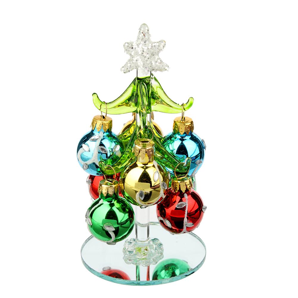 Елка сувенирная, стекло, 12см, 8 подвесок-шаров со стразами, СНОУ БУМ