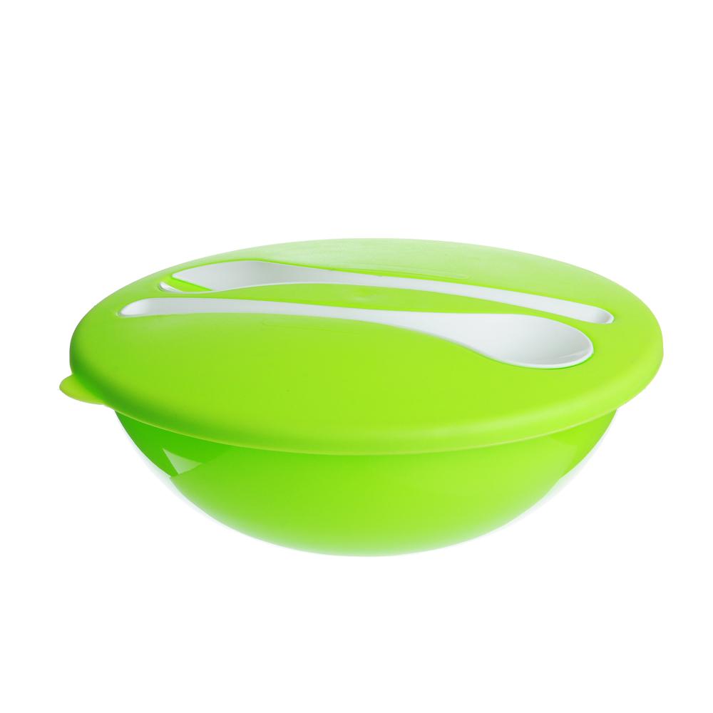 Салатник пластиковый 3 л с крышкой и столовыми приборами, пластик