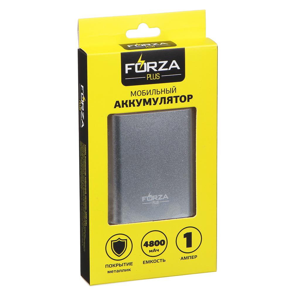 FORZA Аккумулятор мобильный, 4800-6000 мАч, 1А, металлик