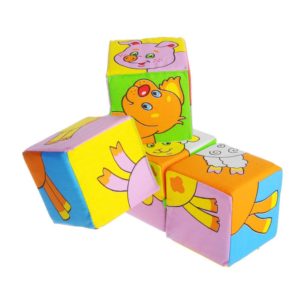 "МЯКИШИ Кубики мягкие 4 шт. ""Собери картинку. Животные"", х/б ткань, поролон, 16х16х8см, 2 дизайна"