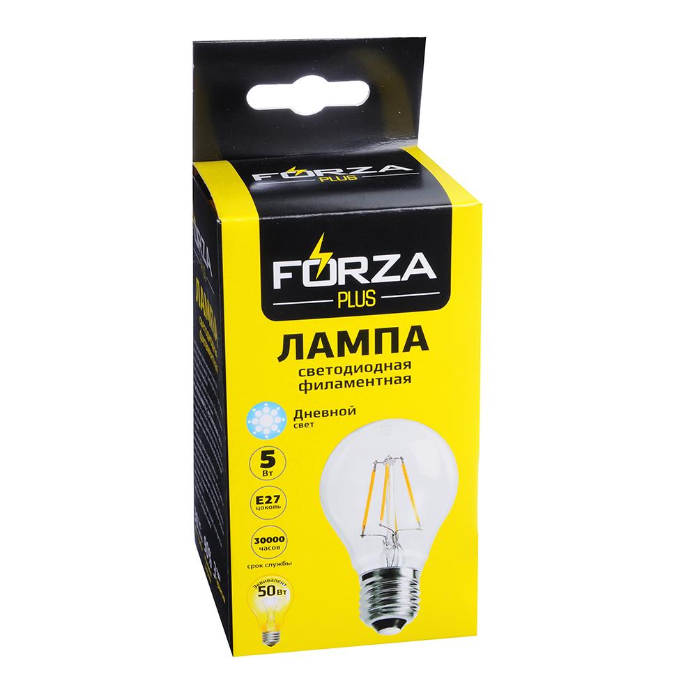 FORZA Лампа филаментная A60, 5W, E27, 400 lm, 4000 K