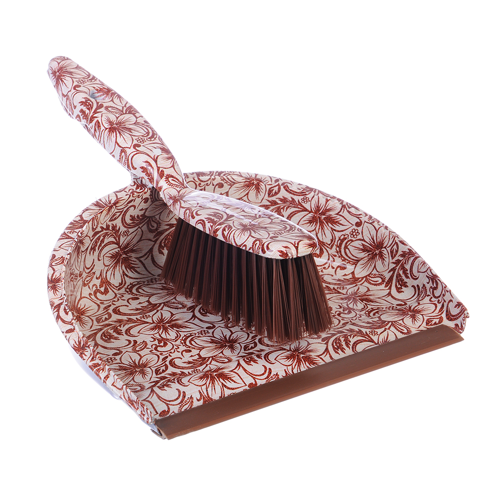 """Набор для уборки: совок, щетка, полипропилен, VETTA """"Бежевые цветы"""", GC Design"""