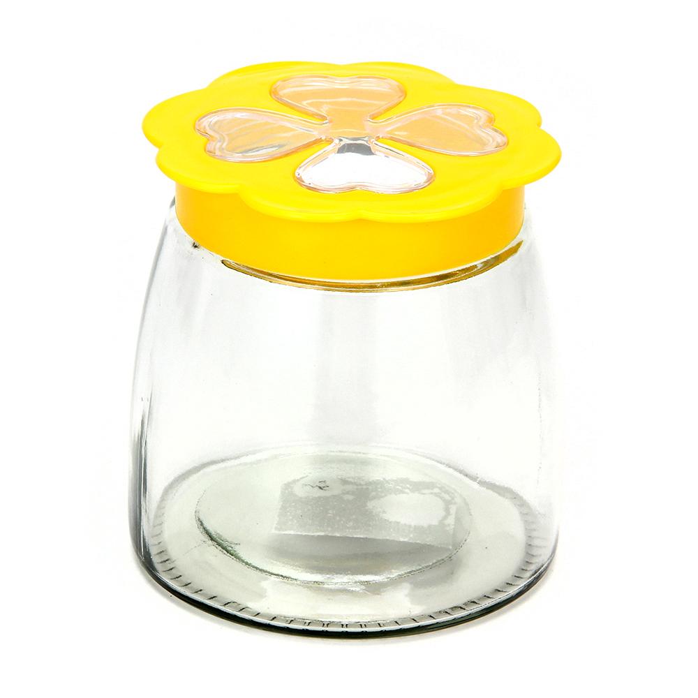 Банка для сыпучих продуктов, пласт. крышка, стекло, 980мл, 02-0813D-13