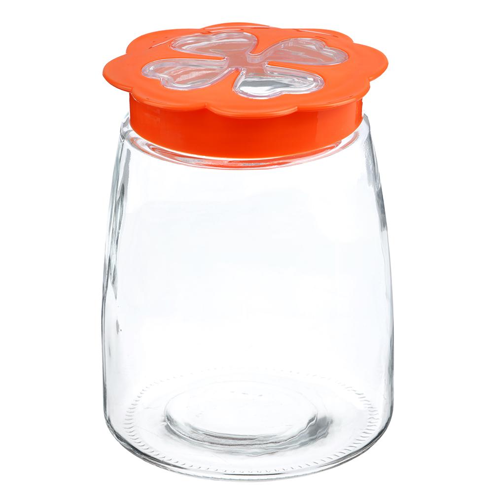 Банка для сыпучих продуктов, пласт. крышка, стекло, 1300мл, 02-0813D-16