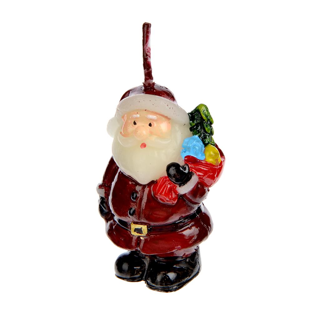 СНОУ БУМ Свеча в виде Деда Мороза, 5,2см, парафин, 4 дизайна