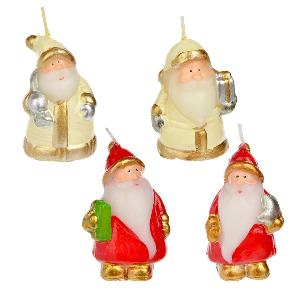 СНОУ БУМ Свеча в виде Деда Мороза в подарочной упаковке, 6,5см, парафин, 4 дизайна