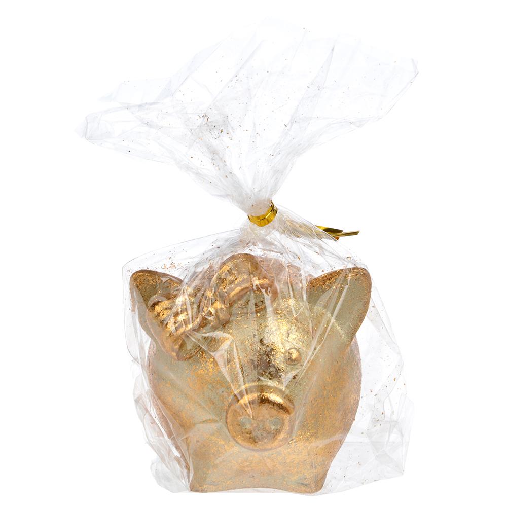 СНОУ БУМ Сувенир в виде свинки с бантиком, 5,8х6,4х5,6см, полистоун, бронза