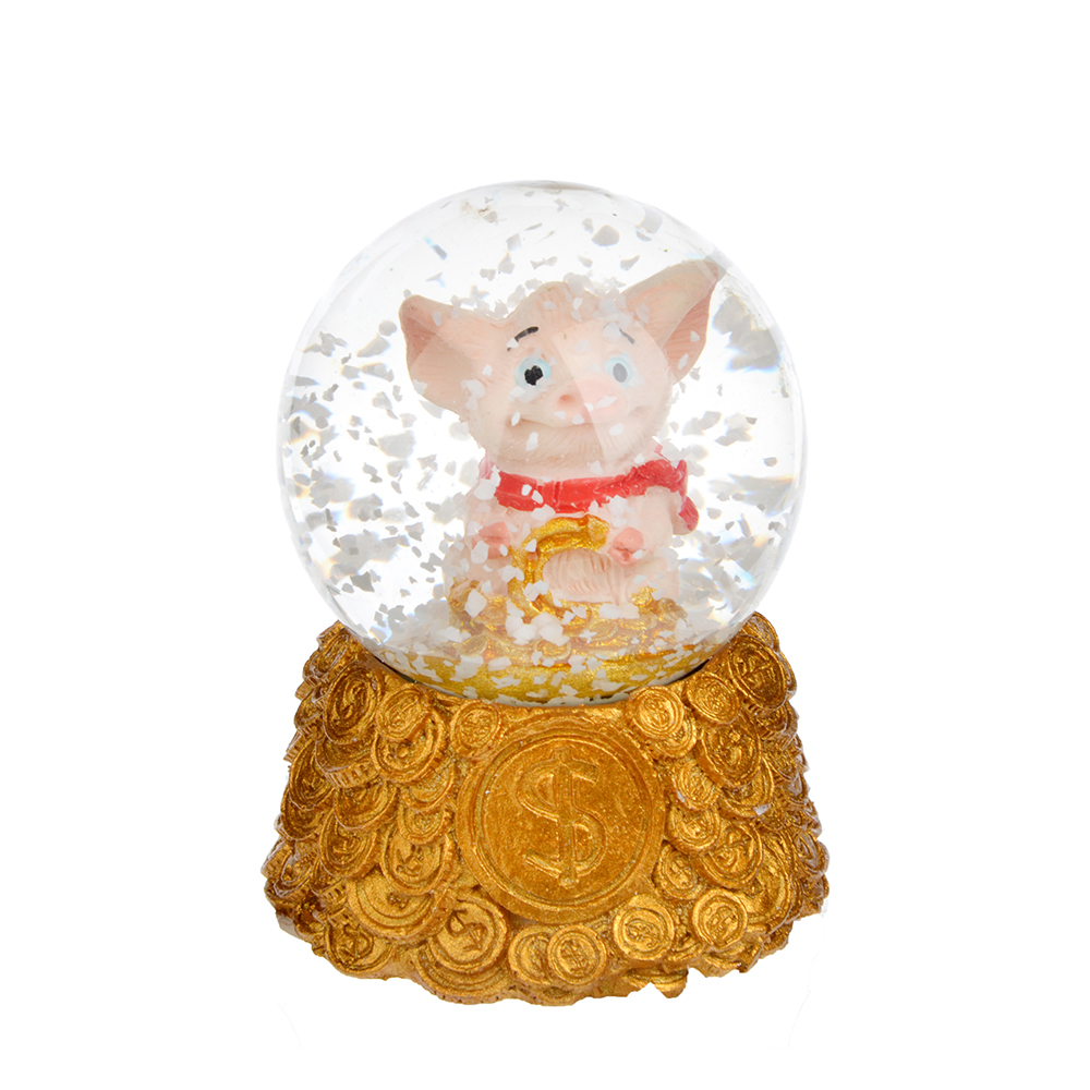 СНОУ БУМ Снежный шар с поросенком, 6,5см, полистоун, 4 дизайна