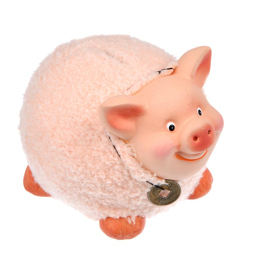 СНОУ БУМ Копилка в виде свинки с монеткой, 12,2х10,3х9 см, керамика, искусств.мех