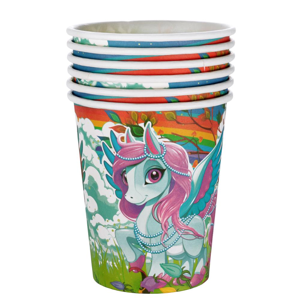 Набор бумажных стаканов 6шт, 200мл, с изображением единорога