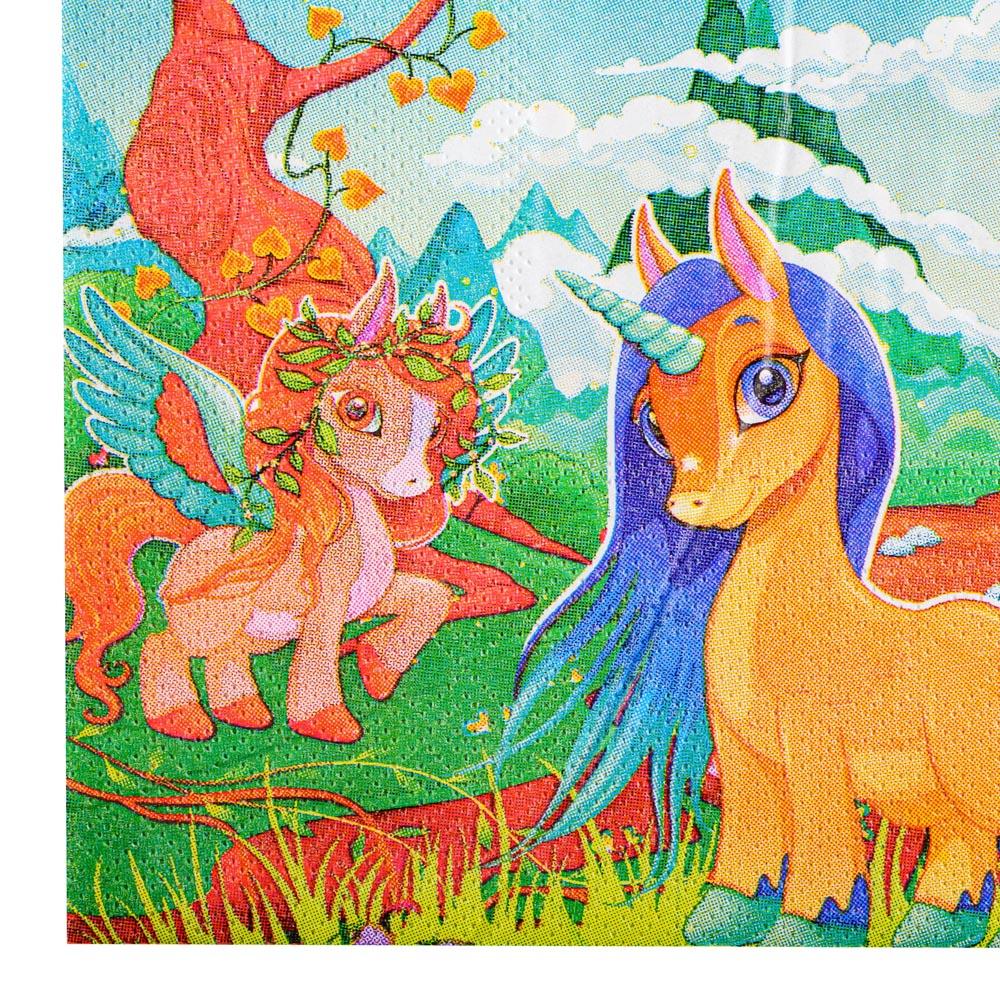 Салфетки бумажные праздничные 12шт, 33х33см, с изображением единорога