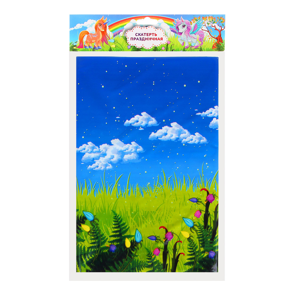 Скатерть праздничная, полиэтилен, 180х108см, 30мкм, с изображением единорога