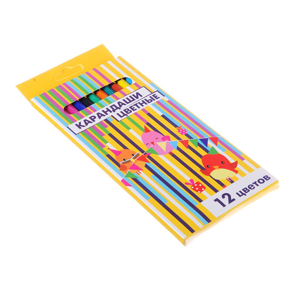 Карандаши 12 цветов шестигранные заточенные, пластик под черное дерево, в к/к с подвесом
