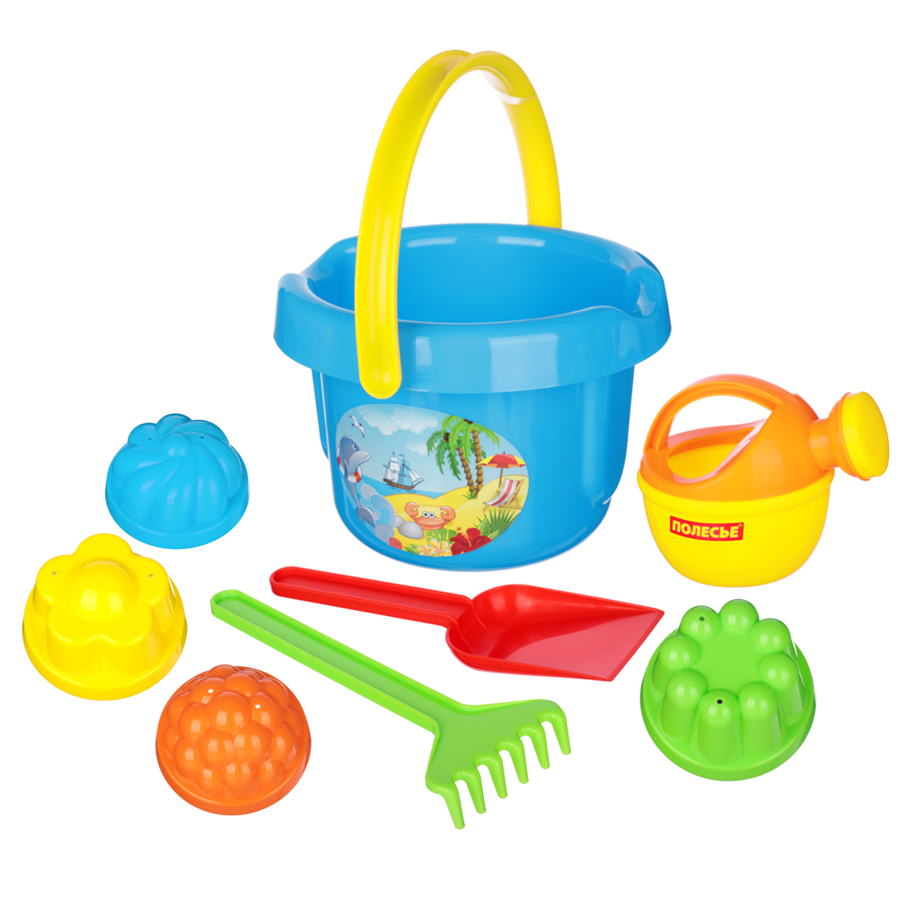 ПОЛЕСЬЕ Набор для песочницы с большим ведром, 5-8пр., пластик, 18,5х22,5х20см, 4 дизайна