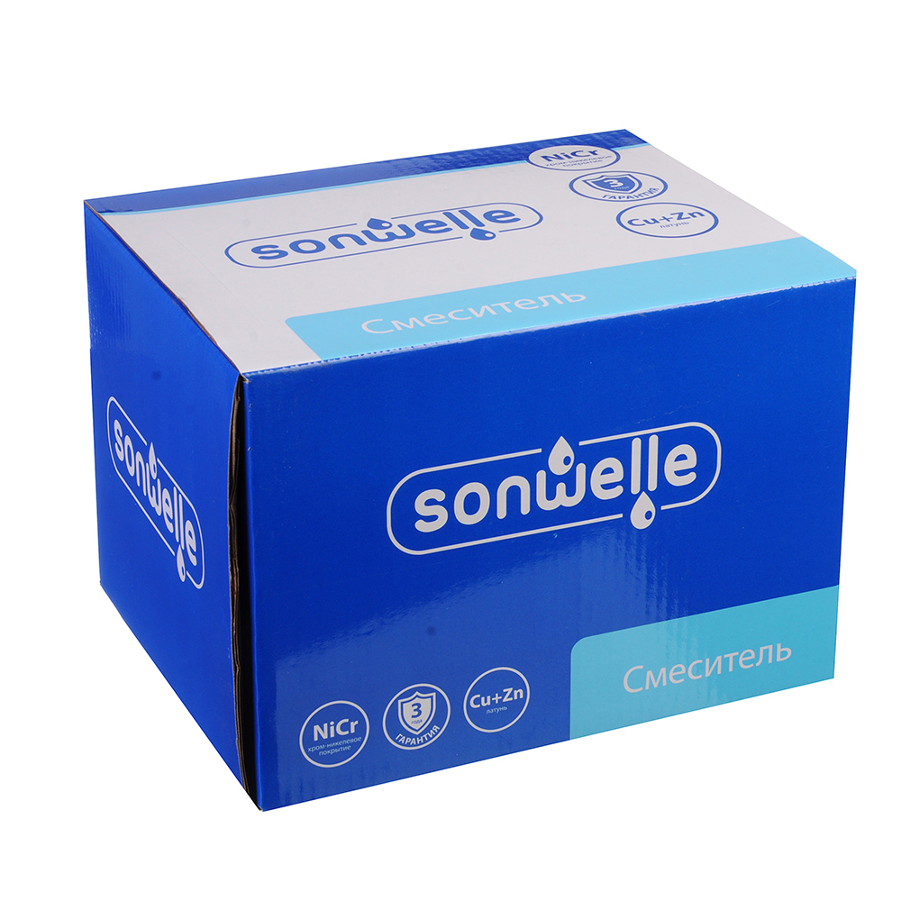 SonWelle Смеситель для ванны Алия, с кор. изливом, керам. кран-буксы 1/2, с ком. для душа, латунь
