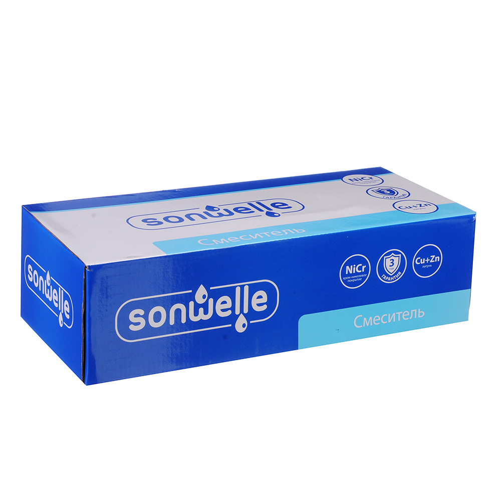 SonWelle Смеситель для ванны Алия, с дл. изливом, керам. кран-буксы 1/2, с компл. для душа, латунь