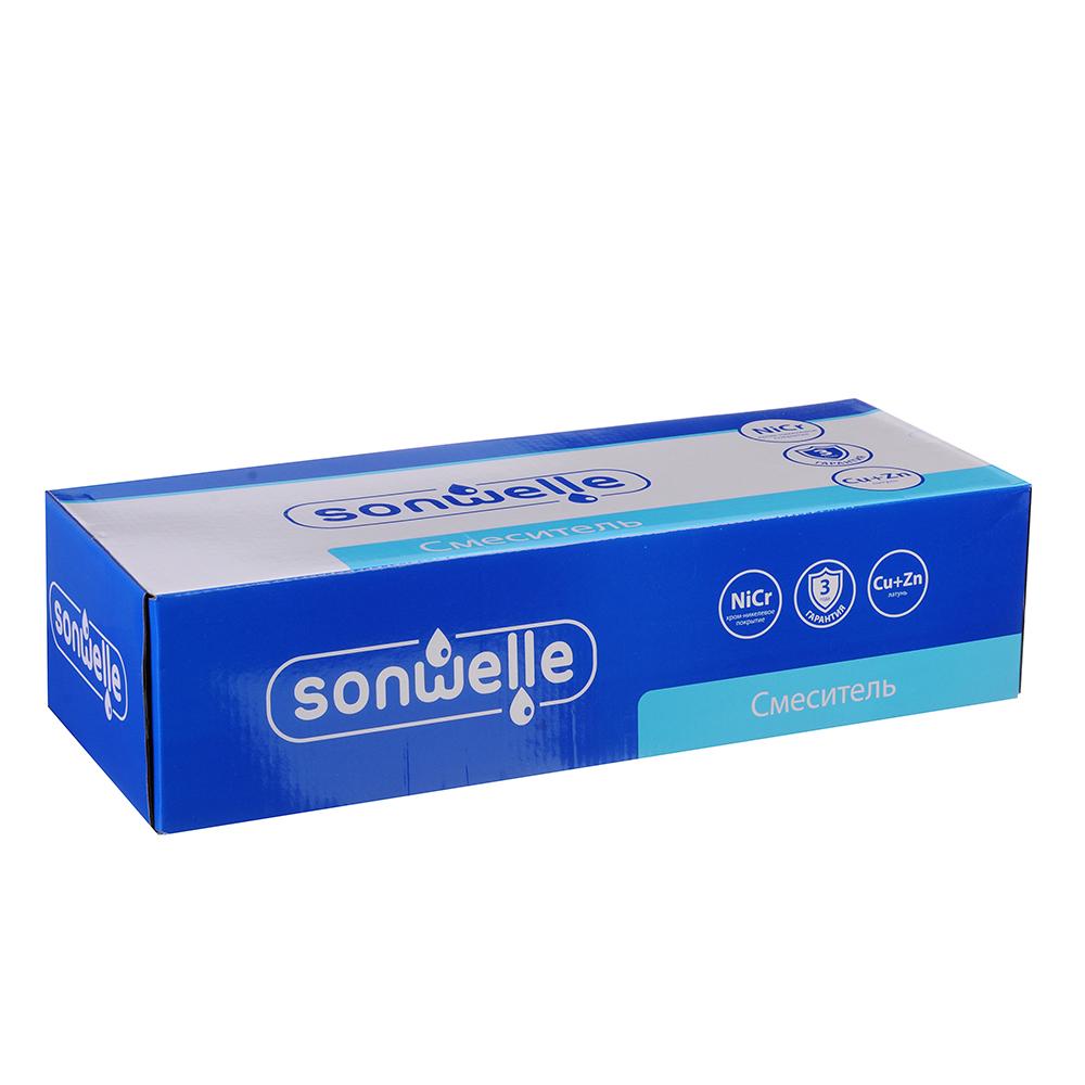 SonWelle Смеситель для ванны Марс, с дл.изливом 40см, кер. кран-буксы 1/2, с ком. для душа, латунь