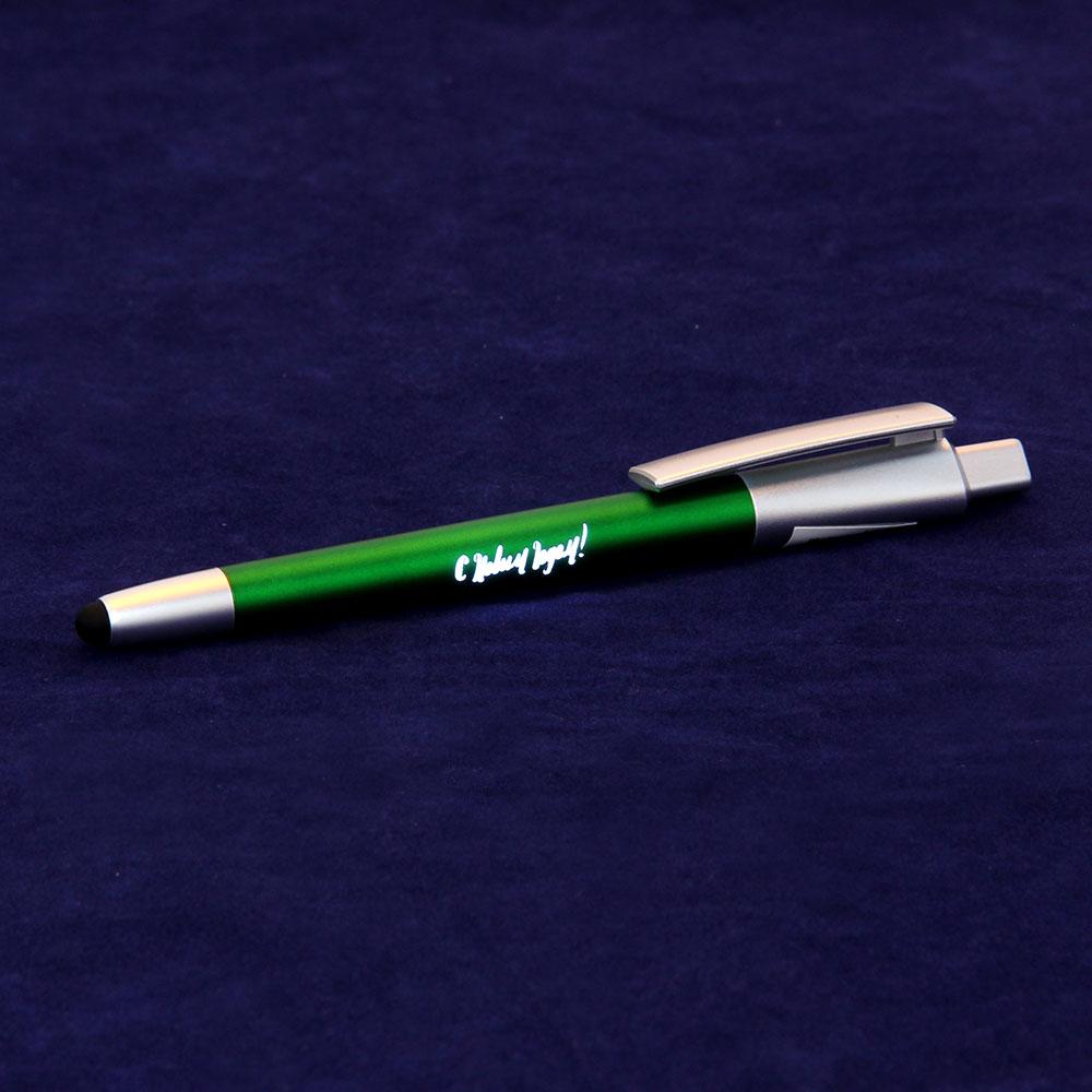 """Авторучка шариковая синяя, со стилусом и светящ. лого """"Новогодняя"""",c батарейкой AG3, пласт.,в пакете"""