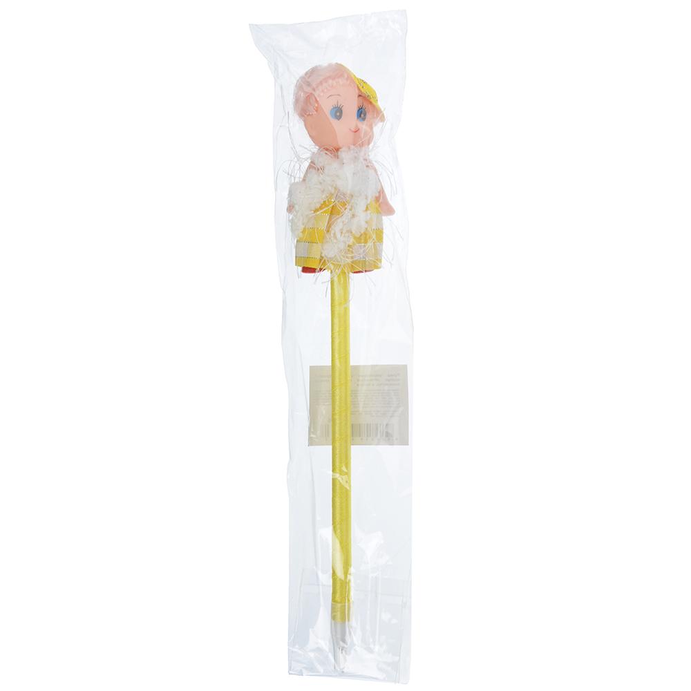 """Шариковая синяя ручка, корпус обтянутый тканью, пластик, полиэстер, в пакете, """"Куколка"""""""