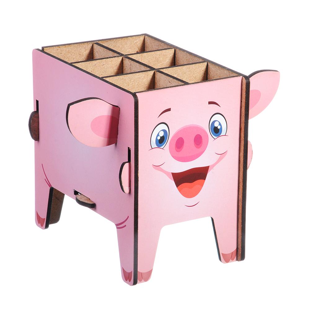 """Подставка для ручек и карандашей, 13х9х10 см, 6 секций """"Свинка"""" ClipStudio"""
