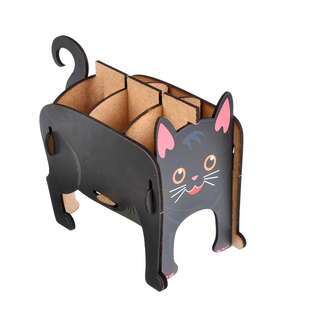 """Подставка для ручек и карандашей, 13х9х10 см, 6 секций """"Черный кот"""" ClipStudio"""