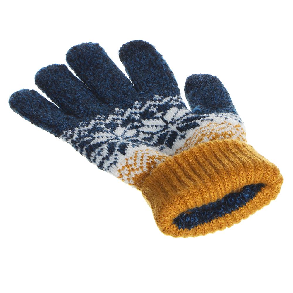 Перчатки молодежные контактные с рисунком, 100% акрил, размер универсальный, 3-6 цветов