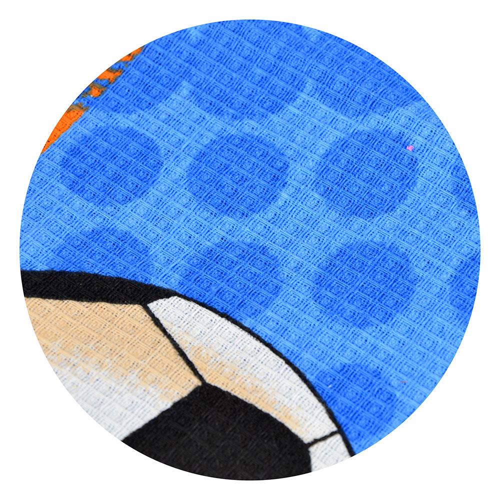 """Полотенце банное вафельное, хлопок, 80х150см, синее, """"Футбол"""""""
