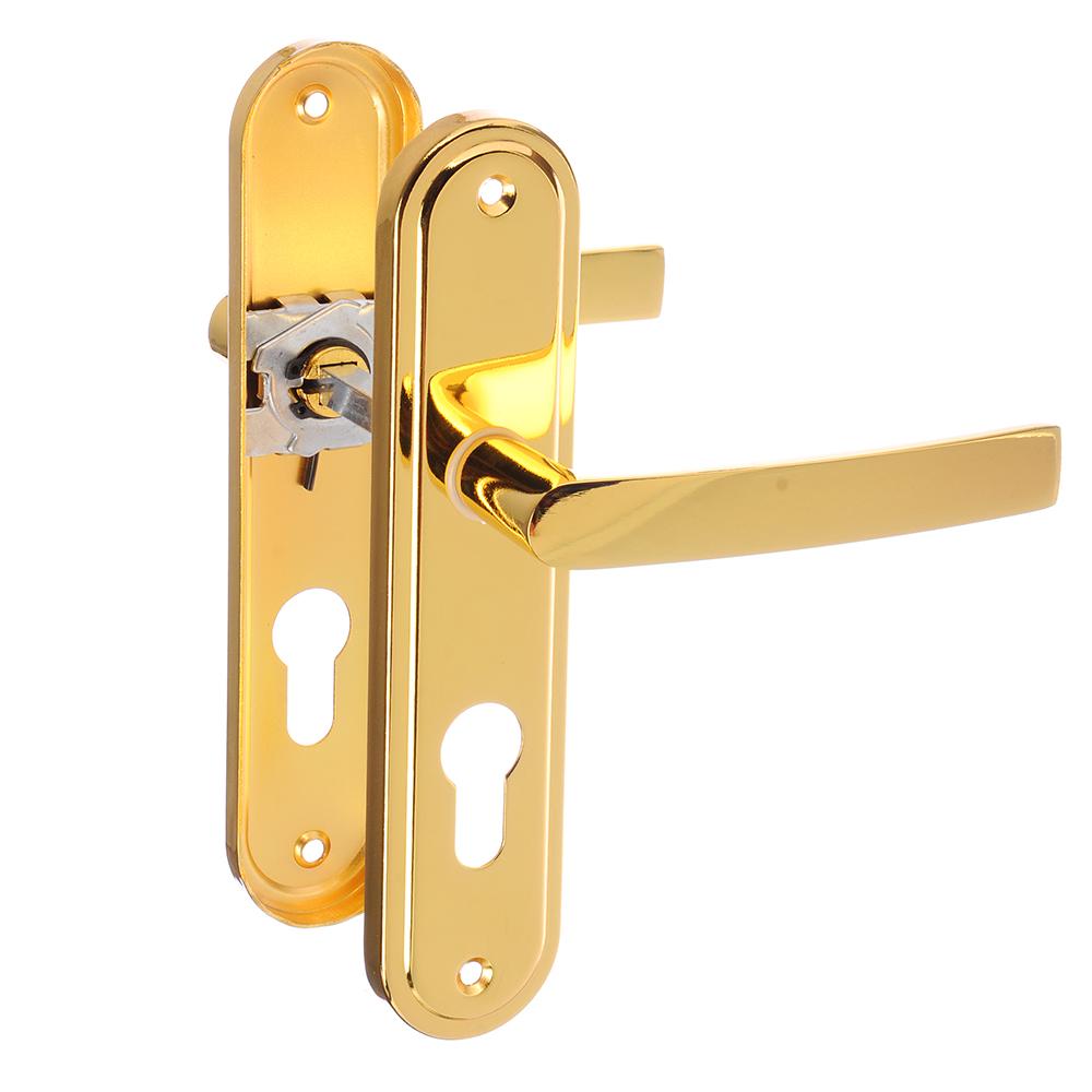 Ручки дверные на планке под цилиндровый механизм, АН10, 185х40мм, м/о 55 мм, PB золото(ЦАМ/Алюминий)