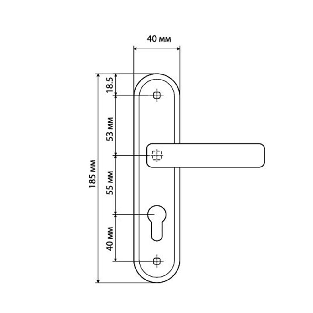 Ручки дверные на планке под цилиндровый механизм, АН10,185х40мм, м/о 55 мм,CP хром(ЦАМ/Алюминий)