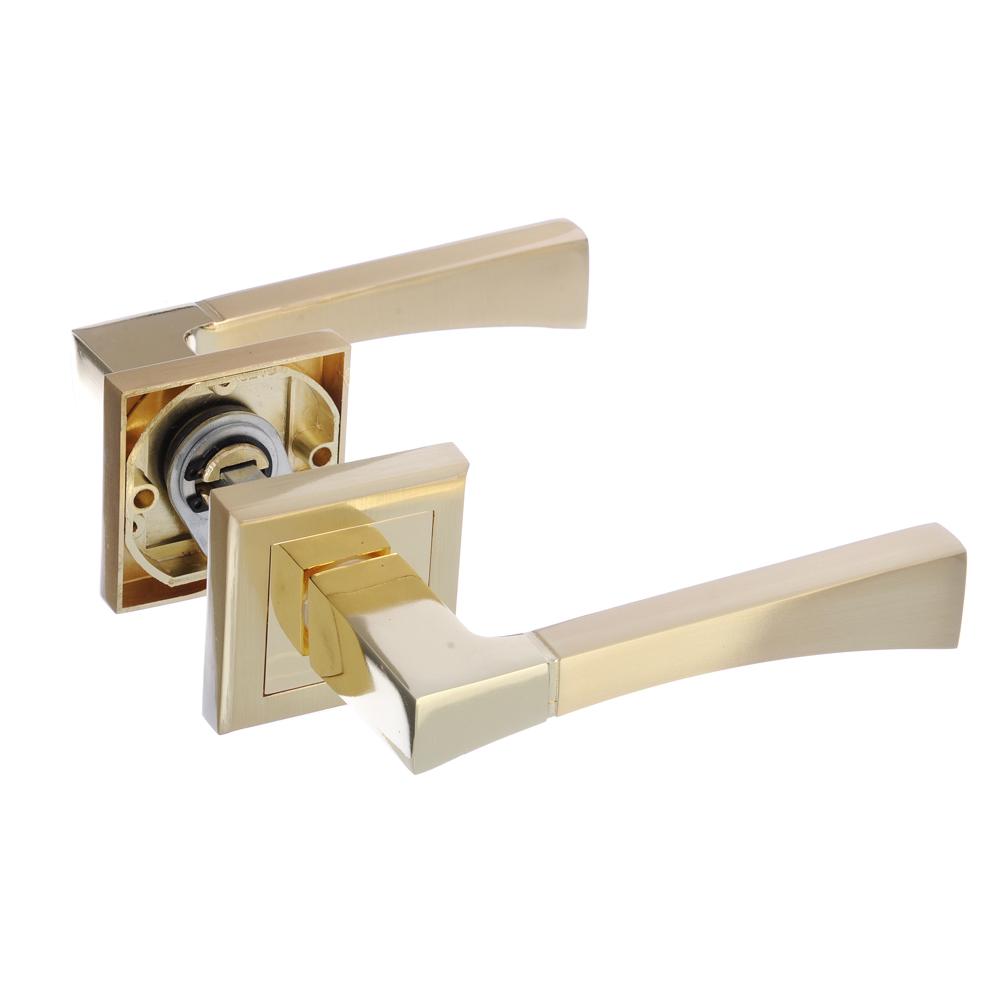Ручки дверные раздельные А1313 PB/SB золото/матовое золото (ЦАМ/Алюминий)
